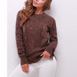 Теплый коричневый узорный вязаный шерстяной свитер мод.141 скл.2