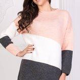 Теплый турецкий удлиненный свитер кофта три цвета скл.1 арт.46986