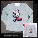 Реглан, футболка, кофта, топ h&m minnie mouse disney/ минни маус дисней 122-128см