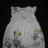 9-18 мес, красивое хлопковое платье Disney с Минни и Дейзи