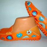 Мокасины оранжевые разноцветные кожа стелька 24,5 см