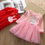 Платье с фатином зайчик роз 460066,460086 платье нарядное, праздничное платье, теплое платье