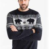 Фирменный новогодний свитер медведи c&a cunda