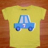 Желтая футболка с машиной,Некст,Next,3-4 года,104 Состояние новой