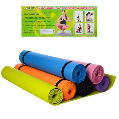 Коврик для фитнеса и йоги 0380-1 гимнастический коврик 173х61см, толщина 4мм 6 цветов