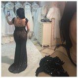Шикарнейшее вечернее платье 46 р , темно- синий цвет , надето 1 раз