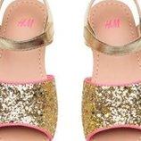 ослепительные блестящие босоножки, сандалии H&M 32р