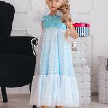 Длинное нарядное пышное красивое детское платье новый год утренник праздник 104 110 116 122