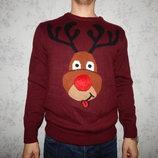 свитер мужской новогодний с оленем рL новый
