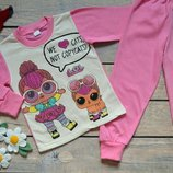 Пижама тёплая на баечке с куколкой Лол L.O.L. Хлопок, с начесом, начес, 86-92-98-104-110-116-122