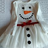 Новогоднее платье снеговичка Next, 9 мес.-2 г, как новое