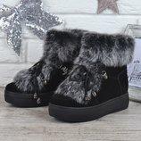 Ботинки женские зимние замшевые натуральный мех на платформе Rosso опушка кролик