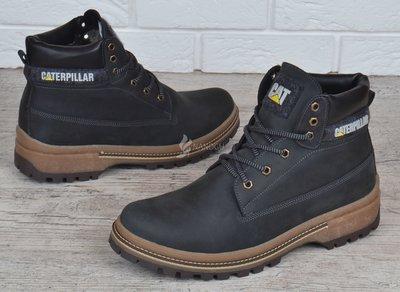 fa60dc8c Ботинки мужские кожаные зимние CAT Caterpillar black натуральный мех ...