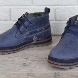 Ботинки мужские зимние кожаные Montana serious blue натуральный мех 4 цвета