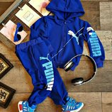Костюм спортивный с капюшоном Рuma с манжетами на мальчика, двунитка, р.86-92-98-104-110-116-122