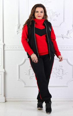 0fb2c679 Тёплый женский спортивный костюм-тройка на байке в больших размерах 864-1  Лампасы Контраст
