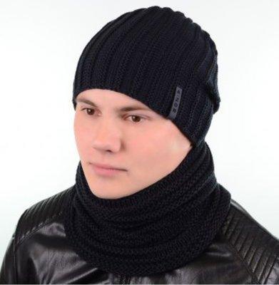 Мужские комплекты шапка на флисе и снуд 55-59 разные цвета