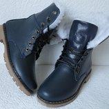 Супер зимние кожаные женские сапоги ботинки в стиле Timberland теплые