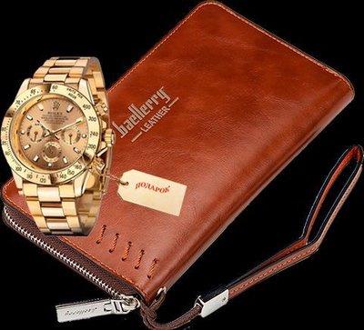 Комплект клатч baellerry leather и часы rolex daytona