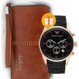 Комплект клатч baellerry leather и часы emporio armani
