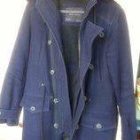 Теплая парка пальто полушерсть с капюшоном Zara XS