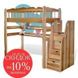 Кровать-Чердак с Лестницей-Комодом из 100% дерева