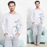 Пижама мужская футболка с длин.рук. и брюки m-xl