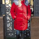 Яркая модная зимняя куртка от 48 размера куртка Mika mir-148 красный