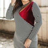Шикарное платье ткань костюмный креп с бархатной вставкой хл размеры 48-54 скл1.арт.47400