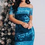 Шикарное бархатное платье с кружевом и открытыми плечами скл1.арт.47432