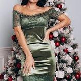 Шикарное бархатное платье с кружевом и открытыми плечами скл1.арт.47431