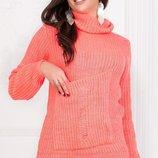 Теплый вязаный турецкий свитер кофта гольф нить марс с карманом скл.1 арт.46961
