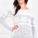 Теплый вязаный турецкий свитер кофта травка снежинки скл.1 арт.46960