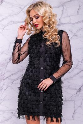 Необычное нарядное платье-рубашка 1076