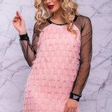Стильное нарядное платье итальянский креп-шифон, 1075