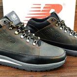 Мужские коричневые зимние кроссовки ботинки New Balance 754. Натуральный мех и кожа