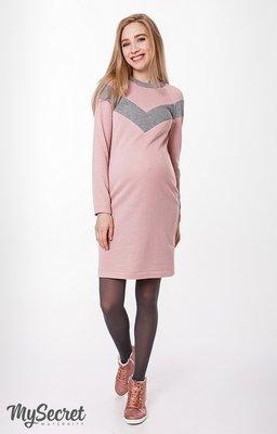 8bee9864765a Теплое платье для беременных и кормящих, розовое с серым  860 грн ...