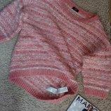 F&F тренд Шикарный пушистый свитер розового цвета с рукавом 3/4 ,uk12-14
