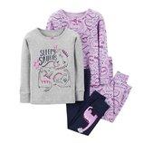 Набор из 2х хлопковых пижам для девочки Carters динозавры на отдыхе