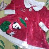 Платье Санта 3-12мес и тапочки 12-18мес