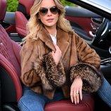 Норковая автоледи цвет соболь, манжет- финская чернобурка, Saga Furs
