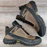 Мужские кожаные зимние кроссовки ботинки Ecco Biom
