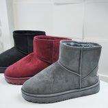 Акция 36-41рр Короткие бордовые марсала серые черные угги уги, ботинки, сапоги женские