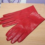 Кожаные красные перчатки marks&spencer разм M