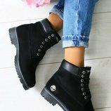Три расцветки. Женские зимние теплые ботинки Timberland All Black Brown