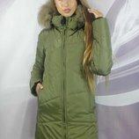 Стильная зимняя куртка с мехом 44-54р