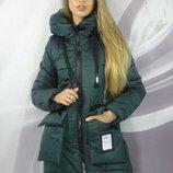 Зимняя куртка 44-50р бирюзовая, пудровая, красная, зеленая