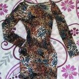 Платье В Леопардовый Принт С Цветами