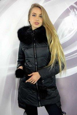 Стильная зимняя куртка 42-50р с меховыми бубонами на карманах. Previous Next 5fc2a6dcb25