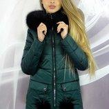 Стильная зимняя куртка 42-50р с меховыми бубонами на карманах